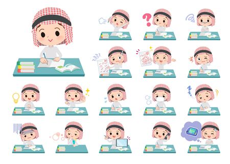 A set of Islamic boy on study.There are various emotions and actions.It's vector art so it's easy to edit. Stock Vector - 126399289