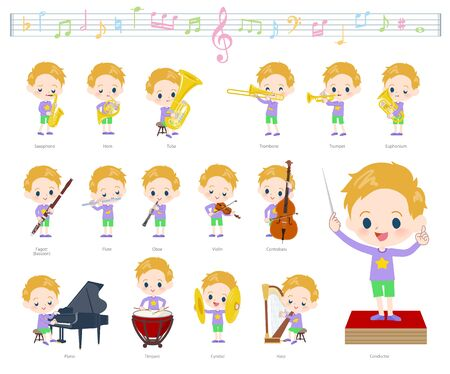 A set of boy Caucasian on classical music performances.There are actions to play various instruments such as string instruments and wind instruments.Its vector art so its easy to edit.