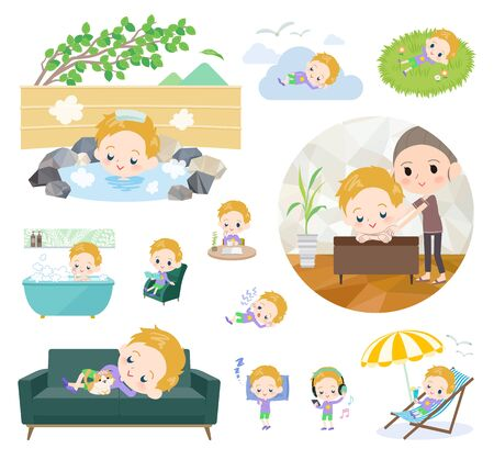 A set of boy Caucasian about relaxing.There are actions such as vacation and stress relief.It's vector art so it's easy to edit.