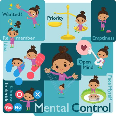 A set of girl who control emotions.A variety of image illustrations expressing self emotion.It's vector art so it's easy to edit.