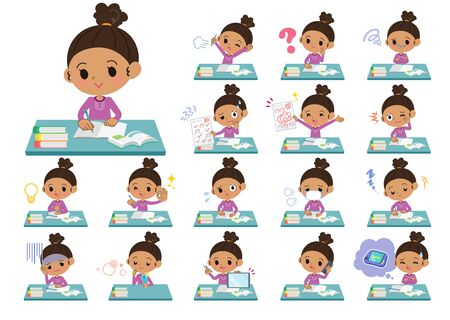 A set of girl on study.There are various emotions and actions.It's vector art so it's easy to edit. Illustration
