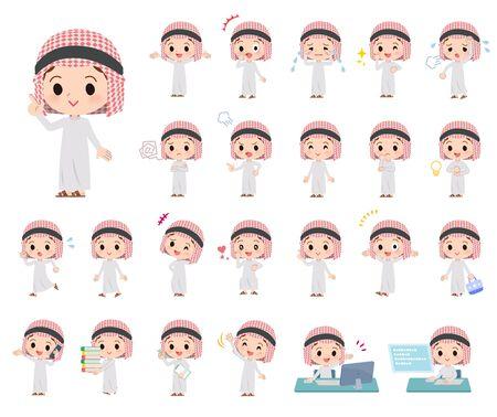 Eine Reihe von islamischen Jungen, die verschiedene Emotionen ausdrücken. Es gibt Aktionen im Zusammenhang mit Arbeitsplätzen und PCs. Es handelt sich um Vektorgrafiken, die leicht zu bearbeiten sind.