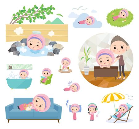 A set of Islamic girl about relaxing.There are actions such as vacation and stress relief.It's vector art so it's easy to edit.