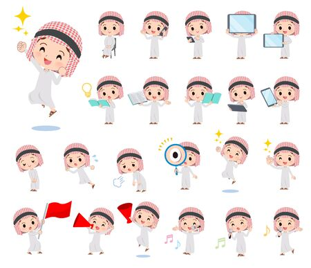 Un conjunto de niño islámico con equipos digitales como teléfonos inteligentes. Hay acciones que expresan emociones. Es arte vectorial, por lo que es fácil de editar. Ilustración de vector