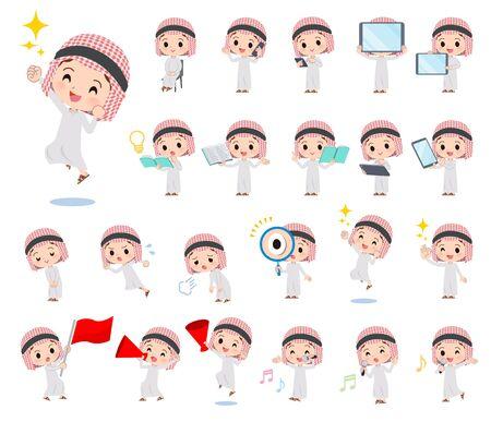 Un ensemble de garçons islamiques avec des équipements numériques tels que des smartphones. Il y a des actions qui expriment des émotions. C'est de l'art vectoriel, il est donc facile à modifier. Vecteurs