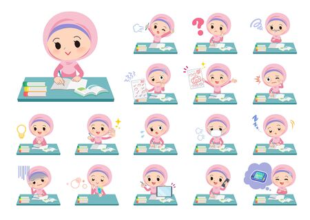 A set of Islamic girl on study.There are various emotions and actions.Its vector art so its easy to edit.