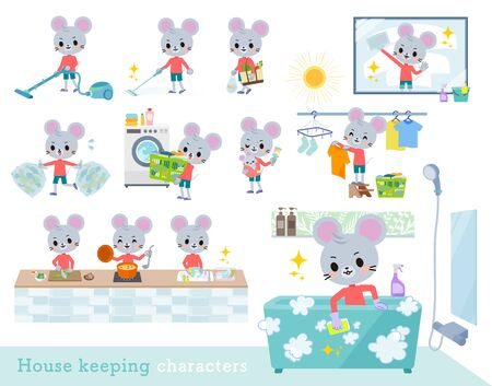 A set of mouse boy related to housekeeping such as cleaning and laundry.There are various actions such as cooking and child rearing.It's vector art so it's easy to edit. Ilustração