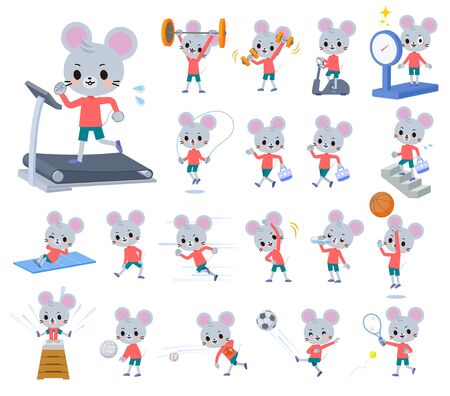 A set of mouse boy on exercise and sports.There are various actions to move the body healthy.It's vector art so it's easy to edit. Illusztráció