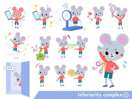 A set of mouse boy on inferiority complex.There are actions suffering from smell and appearance.It's vector art so it's easy to edit.