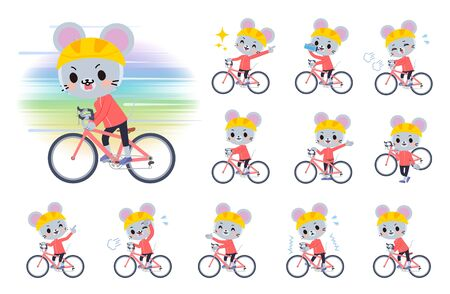 A set of mouse boy on a road bike.There is an action that is enjoying.It's vector art so it's easy to edit.