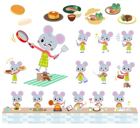 A set of mouse boy about cooking.There are actions that are cooking in various ways in the kitchen.It's vector art so it's easy to edit. Illustration