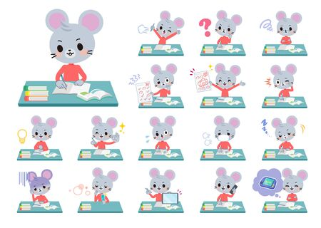 A set of mouse boy on study.There are various emotions and actions.Its vector art so its easy to edit.