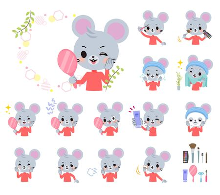 A set of mouse boy on beauty.There are various actions such as skin care and makeup.Its vector art so its easy to edit.
