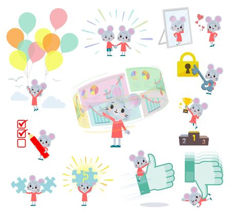 A set of mouse girl on success and positive.There are actions on business and solution as well.Its vector art so its easy to edit.