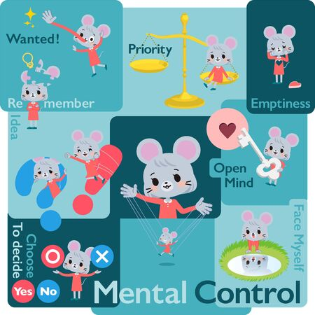 A set of mouse girl who control emotions.A variety of image illustrations expressing self emotion.It's vector art so it's easy to edit. Illustration