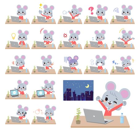 A set of mouse girl on desk work.There are various actions such as feelings and fatigue.Its vector art so its easy to edit.