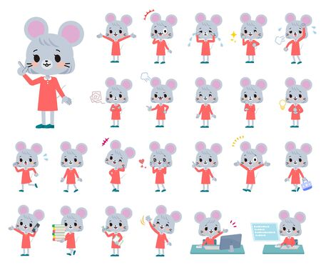 A set of mouse girl with who express various emotions.There are actions related to workplaces and personal computers.It's vector art so it's easy to edit.