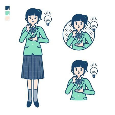 A Female student in a green blazer with came up with images.It's vector art so it's easy to edit.