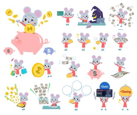 A set of mouse girl with concerning money and economy.There are also actions on success and failure.Its vector art so its easy to edit.  イラスト・ベクター素材