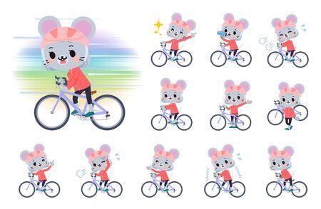 Een set van muismeisje op een racefiets. Er is een actie die geniet. Het is vectorkunst, dus het is gemakkelijk te bewerken.