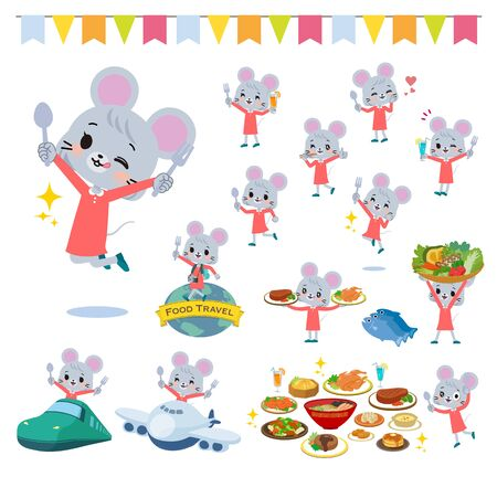 A set of mouse girl on food events.There are actions that have a fork and a spoon and are having fun.Its vector art so its easy to edit.