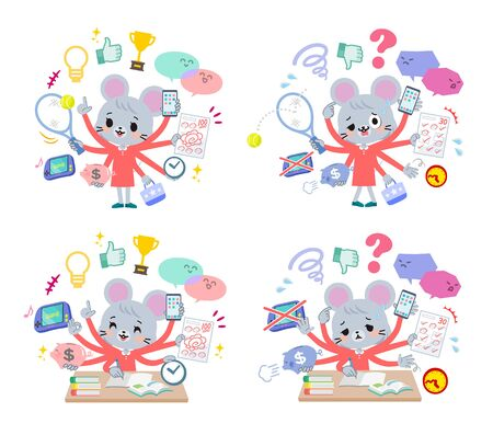 A set of mouse girl who perform multitasking.There are things to do smoothly and a pattern that is in a panic.It's vector art so it's easy to edit.