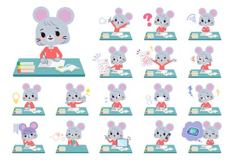A set of mouse girl on study.There are various emotions and actions.It's vector art so it's easy to edit.