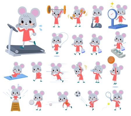 A set of mouse girl on exercise and sports.There are various actions to move the body healthy.It's vector art so it's easy to edit.