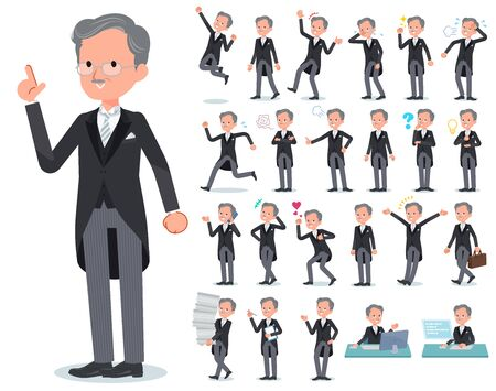 A set of men wearing a morning coat with who express various emotions.There are actions related to workplaces and personal computers.It's vector art so it's easy to edit.