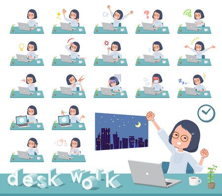 A set of women on desk work.There are various actions such as feelings and fatigue.Its vector art so its easy to edit.