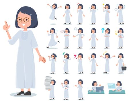 A set of women with who express various emotions.There are actions related to workplaces and personal computers.Its vector art so its easy to edit.  Illustration