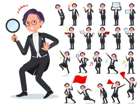 A set of men wearing a tail-coat with digital equipment such as smartphones.There are actions that express emotions.It's vector art so it's easy to edit.