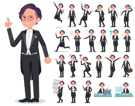 A set of men wearing a tail-coat with who express various emotions.There are actions related to workplaces and personal computers.It's vector art so it's easy to edit.