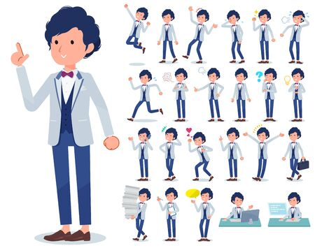 A set of tuxedo man with who express various emotions.There are actions related to workplaces and personal computers.It's vector art so it's easy to edit.