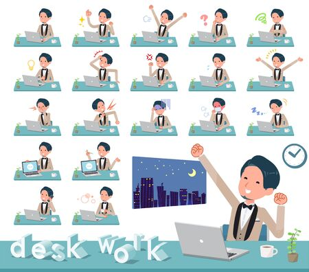 A set of tuxedo man on desk work.There are various actions such as feelings and fatigue.Its vector art so its easy to edit.