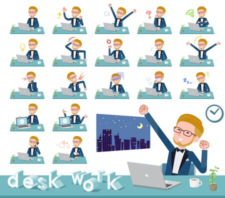 A set of tuxedo man on desk work.There are various actions such as feelings and fatigue.Its vector art so its easy to edit. Illustration