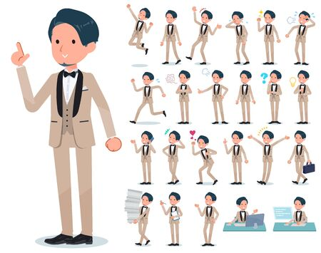 A set of tuxedo man with who express various emotions.There are actions related to workplaces and personal computers.Its vector art so its easy to edit.