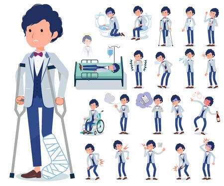 A set of tuxedo man with injury and illness.There are actions that express dependence and death.It's vector art so it's easy to edit.
