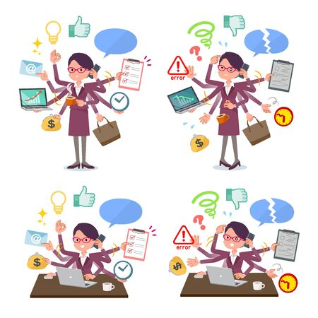 A set of women who perform multitasking in the office.There are things to do smoothly and a pattern that is in a panic.Its vector art so its easy to edit.