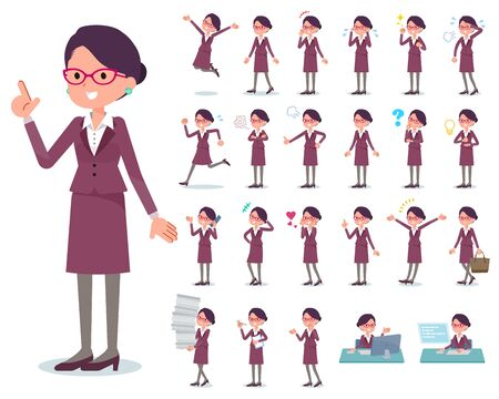 A set of women with who express various emotions.There are actions related to workplaces and personal computers.Its vector art so its easy to edit.  Ilustração