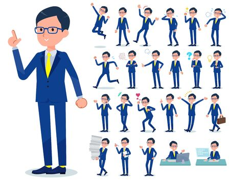 A set of businessman with who express various emotions.There are actions related to workplaces and personal computers.Its vector art so its easy to edit.  일러스트