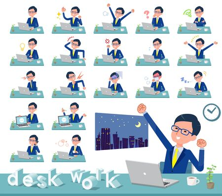A set of businessman on desk work.There are various actions such as feelings and fatigue.Its vector art so its easy to edit.  Illustration