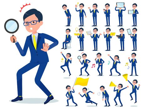 A set of businessman with digital equipment such as smartphones.There are actions that express emotions.Its vector art so its easy to edit.