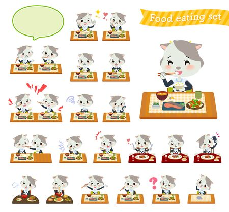 A set of cow girl about meals.Japanese and Chinese cuisine, Western style dishes and so on.Its vector art so its easy to edit.