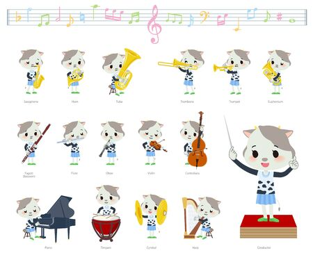 A set of cow girl on classical music performances.There are actions to play various instruments such as string instruments and wind instruments.It's vector art so it's easy to edit.