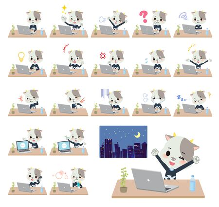 A set of cow boy on desk work.There are various actions such as feelings and fatigue.Its vector art so its easy to edit.