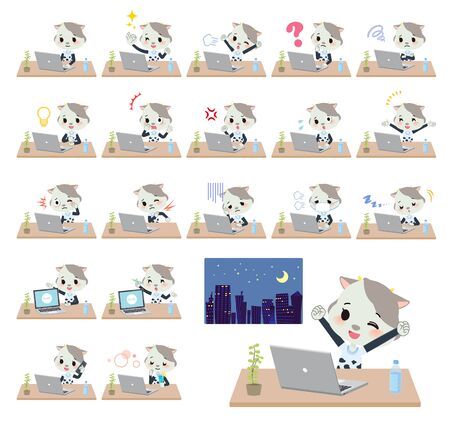 A set of cow girl on desk work.There are various actions such as feelings and fatigue.It's vector art so it's easy to edit.