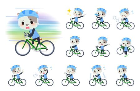 A set of cow boy on a road bike.There is an action that is enjoying.It's vector art so it's easy to edit. 向量圖像