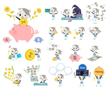 A set of cow girl with concerning money and economy.There are also actions on success and failure.Its vector art so its easy to edit.  イラスト・ベクター素材