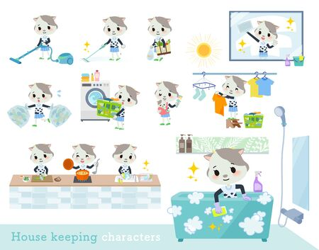 A set of cow girl related to housekeeping such as cleaning and laundry.There are various actions such as cooking and child rearing.Its vector art so its easy to edit.